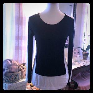 INC size large, long sleeve color block b&w tshirt